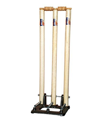 (C2C Cricket World Wooden International Standard Size Complete Stumps Set with Heavy Duty Spring Stand Base (Cream White) 100% Original)