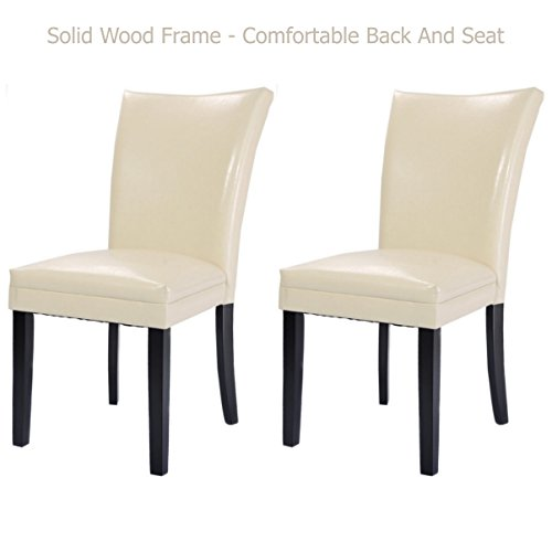 Modern Dining Chairs Durable Half-PU Leather Sturdy Wooden Frame Comfortable High Density Padded Cushion Home Office Furniture - Holidays Set of 2 Creamy White - Doctors Joondalup