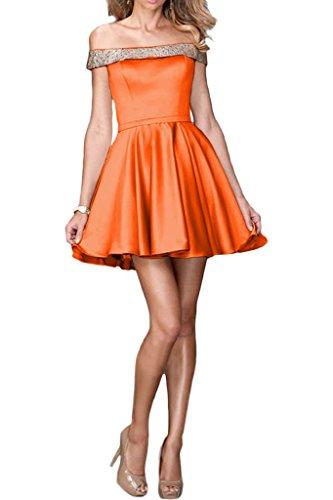 ivyd ressing Mujer sueño antiadherente U de recorte a de línea Charmeuse corta Prom vestido Fiesta Vestido para vestido de noche naranja