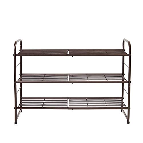 Pariffel Stackable Shoe Rack Storage Organizer with 3 Shelves-Three Tiers for 18 Pairs-for Bedroom, Entryway, Hallway, and Closet-Space Saving Storage and Organization, - Pair 18 Shoe Rack