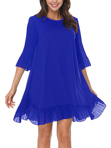 Cocktail Dresses for Women, Loose Mini Spring Sun Swing Short Pleated Bottom Party Summer Casual Flowy Cute Ruffle 3/4 Bell Sleeve Wedding Guest Dress Royal Blue M