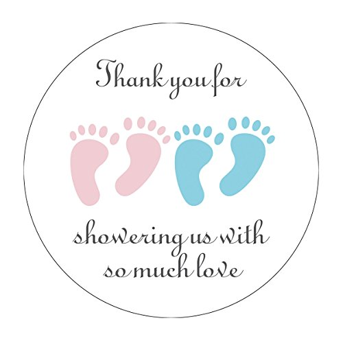 Twin Baby Shower Favors (MAGJUCHE Blue and Pink It's Twins Thank You for Coming Baby Shower Stickers, Girl and Boy Little Feet Party Favor Stickers, 2 Inch,)