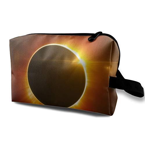 (With Wristlet Cosmetic Bags Solar Eclipse Travel Portable Makeup Bag Zipper Wallet)