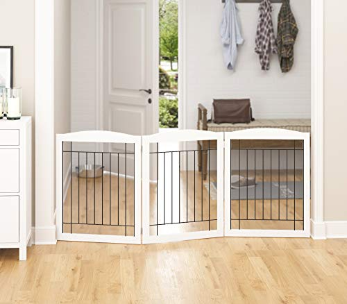 PAWLAND Wooden Freestanding Wire Pet Gate for Dogs, 4 Panel | 3 Panel Step Over Fence, Dog Gate for The House, Doorway, Stairs, Extra Wide Tall Pet Safety Fence (White, 30
