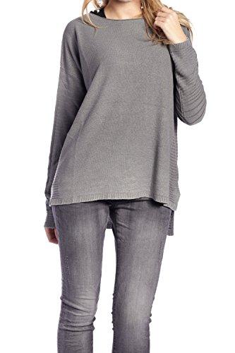 Abbino 62506C Maglioni Maglierie Tops Ragazze Donne - Made in Italy - 4 Colori - Estate Autunno Inverno Classiche Semplici Maglia Pullover Maniche Lunghe Casual Saldi Tempo Libero - Taglia Unica Grigio