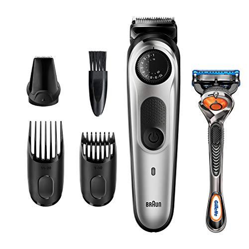Braun-Recortadora-de-Barba-y-Cortapelos-BT5260-Mquina-Cortar-Pelo-para-Hombre-39-Ajustes-de-Longitud-Color-Negro-y-Metal-Plateado