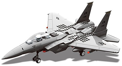 Top Race Interlocking Building F15 Fighter Jet Airplane Model Toy Kit Blocks Set ()