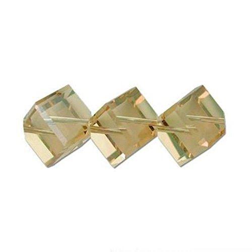 3 Lt Colorado Topaz Dice Swarovski Crystal Beads 8mm