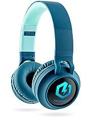 Barnhörlurar bluetooth, PowerLocus barn hörlurar Over-Ear med 85 db volymbegränsning LED-ljus vikbar HD stereo hörlurar trådlös och kabel, inbyggd mikrofon för mobiltelefon, surfplatta, PC, TV (Blå)