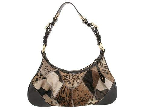 Francesco Biasia Leather Bag - Francesco Biasia Olga Heaven One Cuoio Animal Print Fur Leather Patent Bag New