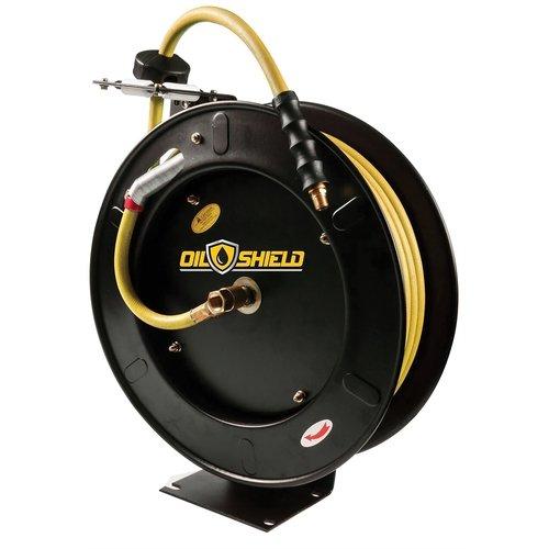 (Oil Shield Hose Reel w/Rubber Air hose 300 PSI Auto Retractable - 12pt. Ratchet Mechanism - Lightest & Strongest Air Hose (3/8