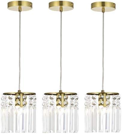 FERWVEW 3-Pack Crystal Ceiling Pendant Lighting, Gold Crystal Chandelier Hanging Crystal Pendant Light, Mini Pendant Pendant Lighting Fixture for Kitchen Bedroom Dining Room