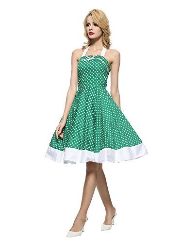Vestito Rockabilly Delle 1950 Verde Donne Vintage Tang Maggie xpB4SqzR