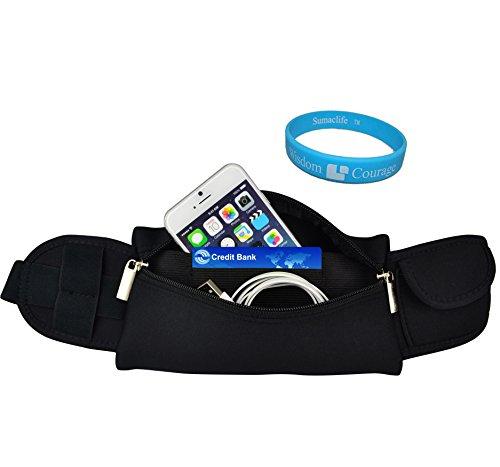 (Adjustable Workout Outdoors Sport Running Belt Waist Fanny Pack Pouch Bag for iPhone 6 / 6 Plus / 5S / HTC One M9 / M8 for Windows / LG G3 Vigor / G Vista / G Flex 2 / Motorola Google Nexus 6 + SumacLife TM Wristband (Black))