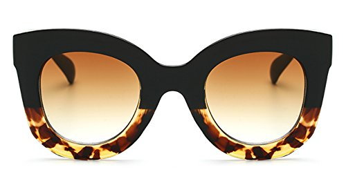 Butterfly Sunglasses Semi Cat Eye Glasses Plastic Frame Clear Gradient Lenses (Black Tortoise, - Cat Shaped Eyeglasses