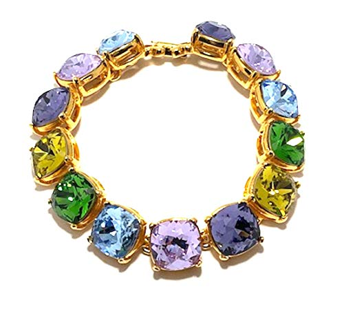 Kenneth Jay Lane-Multi Pastel SQ Pastel CRYSTALS-14KT Gold Plate-7.5 INCHES-FAB! ()