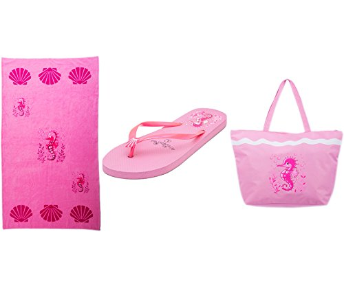 Bolsa de Playa Para Mujer + Toalla de Playa + Chanclas 3 Piezas Caballo de Mar Airee Fairee (EU 38-39, Rosa claro) Rosa claro