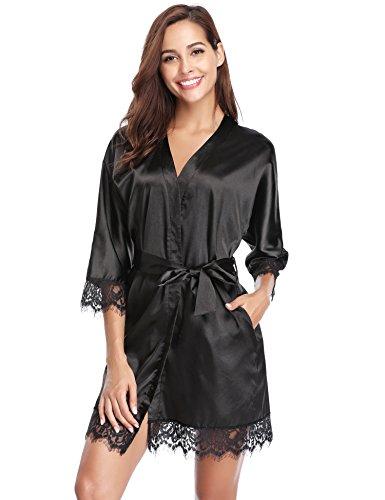 Robe Bath Black Abiti da Nightwear Night Donna Abiti sposa Kimono Lingerie Accappatoio Outlet Satin 1 Aibrou svestiti Pizzo HEqxYW4w1