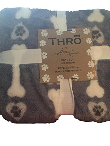 Marlo Lorenz Blue Pet Dog Throw With White Bones And Hearts With Paw Prints