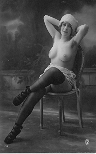 1910 Real Photo Postcard Risquà Topless Nude Woman in a Photo - Rates Usps Worldwide Shipping