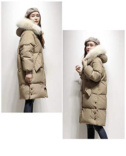Veste Beige Long Col Ample Grand Femme Coréenne Capuche D'hiver En Doudoune Avec Fourrure qq64t