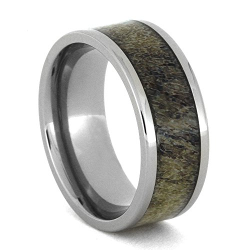 Deer Antler Inlay 8mm Comfort-Fit Titanium Band and Sizing Ring, Size 7 by The Men's Jewelry Store (Unisex Jewelry)