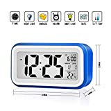 Alarm Clock MECO Digital Alarm Morning Clock with Large LCD Screen Smart Backlight Snooze Function Calendar Temperature Display Battery Operated/USB Plug in for Kids Bedroom Home Office (Blue)