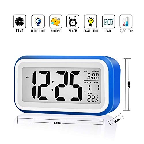 (MECO Digital Alarm Clock with Adjustable Nap Time with Date/Time/Temperature Display, Large Screen, Snooze, Night Light Function)