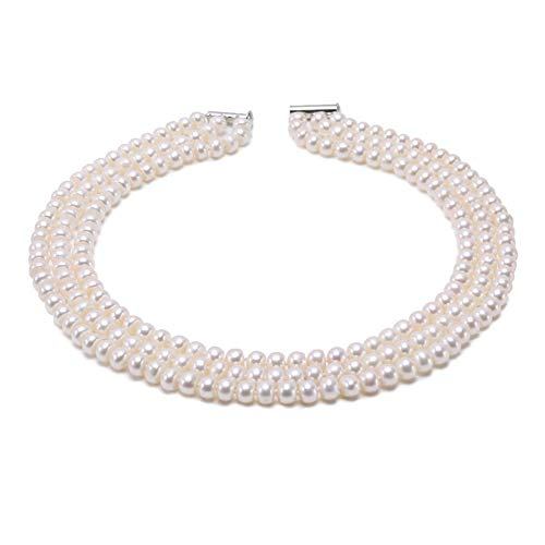 - JYX Pearl Necklace Three Strand Pearls 6-7mm Flatly Round White Freshwater Cultured Pearl Necklace for Women 15.5-18inch