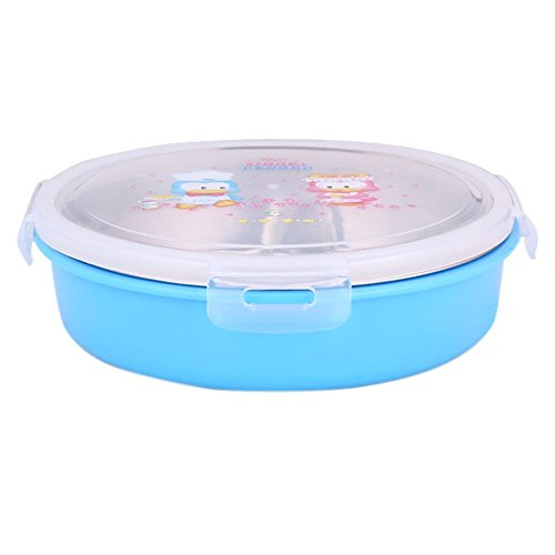 (Remeehi 1Pcs Stainless Steel Thermos Bento Lunch Box for Kids Food Container Round Shape Portable Picnic Food Box Lunch box Blue)