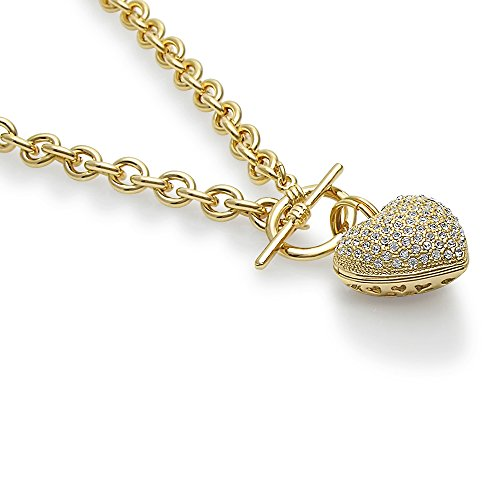 BERRICLE Gold Plated Base Metal Heart Toggle Fashion Pendant Necklace 18