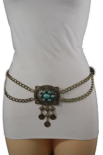 TFJ Women Fashion Metal Chain Belt Hip Waist Turquoise Blue Coins Gold Plus M L XL - Link Hip Belt
