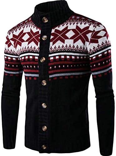 メンズフォールスタンドカラークリスマスジャカードボタンダウンカーディガンセーター