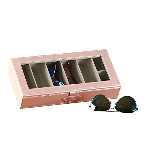 Medium Pink Glass Pearl (Eyeglass Sunglass Glasses Organizer Collector - 6-Slot Faux Leather Storage Case Box (Pearl Pink))