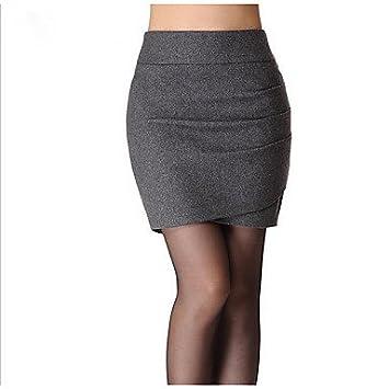 ZLL Mujer Faldas,Corte Bodycon Un Color Plisado,Sencillo Tiro ...
