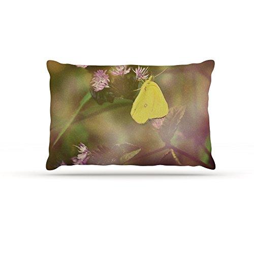 Kess InHouse Robin Dickinson Butterfly Kisses  Fleece Dog Bed, 50 by 60 , Green Purple