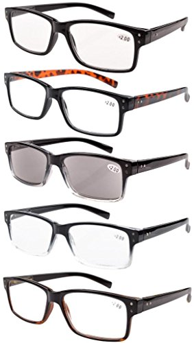 Eyekepper 5 Piece Spring Hinges Vintage Reading Glasses Men Includes Sun Readers - Glasses Reader Mens