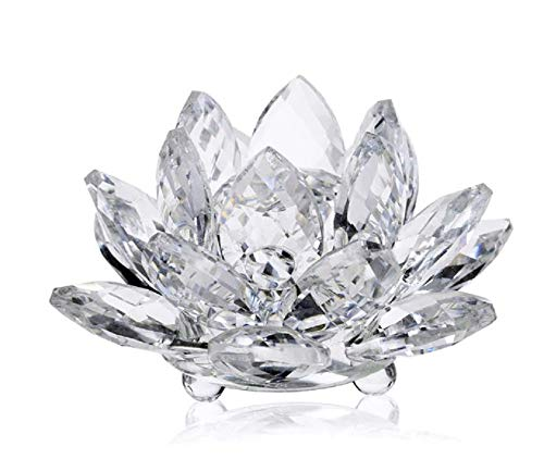 (5th Ave Store Authentic Italian Crystal Lotus Clear Flower with Gift Box Made in Italy)