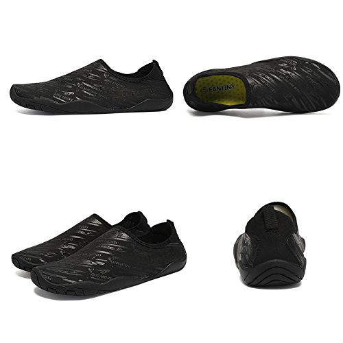 FANTINY Men and Women's Barefoot Quick-Dry Water Sports Aqua Shoes with 14 Drainage Holes for Swim, Walking, Yoga, Lake, Beach, Garden, Park, Driving, Boating,SVD,Black,42 3