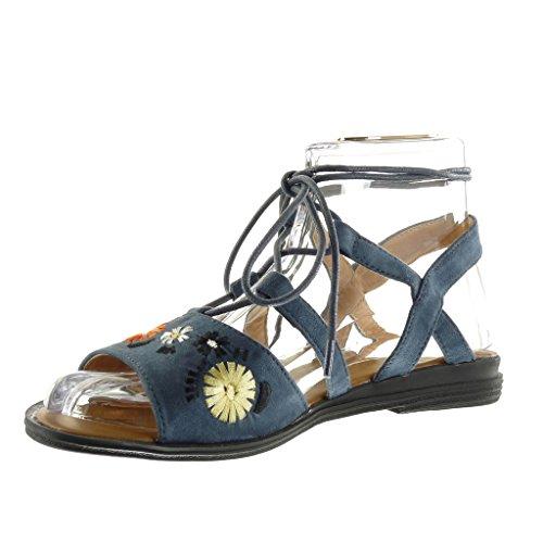 Angkorly - Zapatillas de Moda Sandalias gladiator abierto mujer tanga flores bordado Talón Tacón ancho 2 CM - Azul