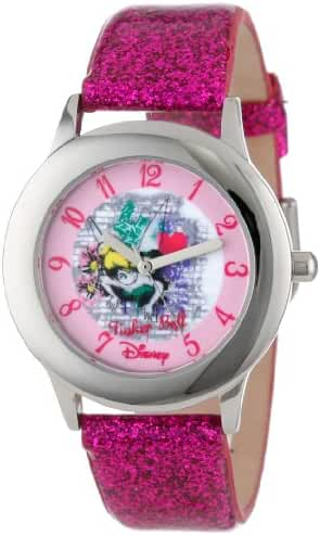 Disney Kids' W000988 Tween Tinker Bell Stainless Steel Watch with Pink Glitter Band