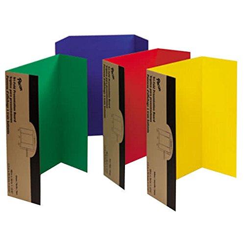 "TableTop King 37654 Spotlight 24"" x 36"" Assorted Color Tri-Fold Corrugated Presentation Display Boards - 4/Pack"