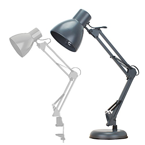ToJane Metal Swing Arm Desk Lamp,Heavy Based Architect Table Light for Studio/Office,with Extra C-clamp Mount,Gray