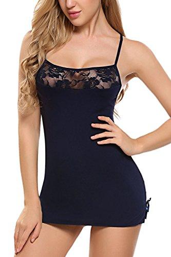Avidlove Women Chemises Lingerie Mini Babydoll Sleepwear Strappy Lace Dress Navy Blue Small by Avidlove
