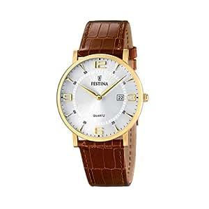 FESTINA F16478/3 - Reloj de caballero de cuarzo, correa de piel color marrón
