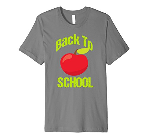 Mens Back to School Apple T Shirt | Cute Back to School T Shirt XL Slate