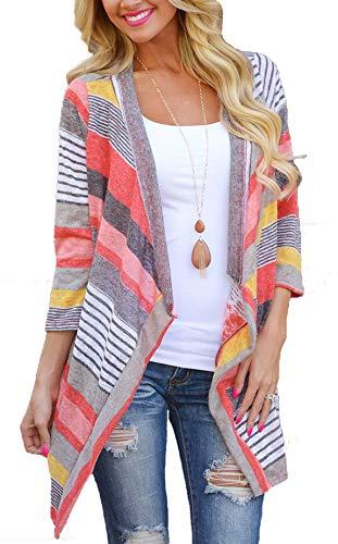 - MYIFU Women's 3/4 Sleeve Striped Printed Cardigans Open Front Draped Kimono Loose Cardigan