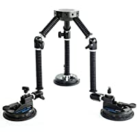 CAMTREE G-51 Professional Gripper Campod Car Mount Stabilizer - Black Triple Vacuum Suction Cup for DSLR Video Camera up to 4kg/9lbs | FREE Safety Cable & Protective Bag