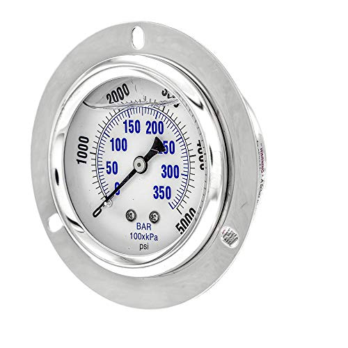 "PIC Gauge PRO-204L-254R Glycerin Filled Industrial Front Flanged Panel Mount Pressure Gauge with Stainless Steel Case, Brass Internals, Plastic Lens, 2-1/2"" Dial Size, 1/4"" Male NPT, 0/5000 psi"