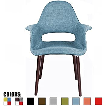 Amazon Com 2xhome Oliva Blue Organic Upholstered Mid Century Modern Dining Arm